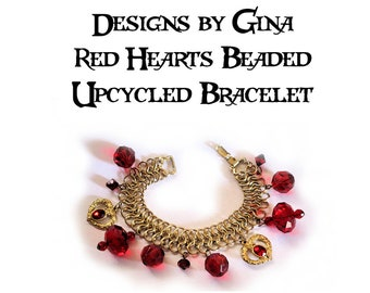 Red Hearts Beaded Upcycled Gold Tone Bracelet DG0015B1 Handmade Handcrafted Original Designs by Gina Red Beads Recycle Upcycle Repurpose