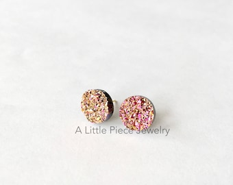 Pink Gold Faux Druzy Stud Earrings - Round with 18k Plated Gold Studs