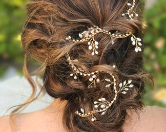 Rhinestone Hair Vine, Gold Bridal Hair Vine, Wedding Hair Accessory, Bridal Hair Wreath, Rhinestones Hair Crown