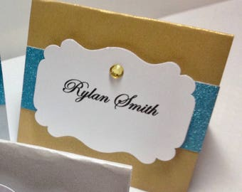 Gold and Teal Blue Glitter Place Cards, Personalized Placecards, Turquoise Place Cards, Silver Placecards, Wedding Placecard