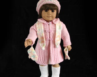 Doll Coat, Hat, Scarf and Mittens 18 inch Doll Coat AG Doll Coat Ensemble, American Girl Doll Coat Pink Doll Coat 18 Inch Doll Pink Coat