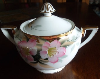 Noritake Japan Azalea Patt Gold Finial Sugar Bowl and Lid