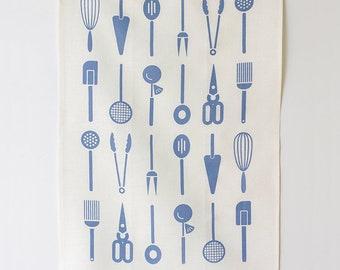 Linen Tea Towel - Cool Tools - Fog Blue