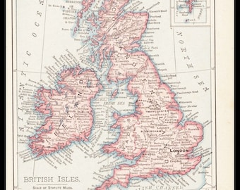 Small British Isles Map of England / Ireland Map (Antique Map Decor, Early 1900s Rand McNally Map) No. 133-3