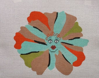 Daisy the flower girl handpainted needlepoint canvas