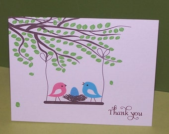 Baby shower thank you cards, baby thank you cards, birds nest (set of 10)
