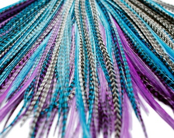 20 Real Feather Hair Extensions : B-Grade Midnight Mix + Rings/Loop
