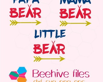 Bear family, mama bear, papa bear, little bear in  svg, dxf, png,format. Instant download