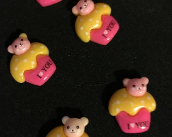 Pink and Yellow Teddy Bear Topped Cupcake Cabochons 5pcs   R66