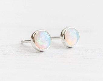 Opal earrings, Opal stud earrings, Gemstone earrings, October birthstone, Everyday earrings, Birthday gift, Gift for her, UK sellers