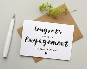 Engagement card personalised - Engagement card - Custom engagement card - happy couple card - engaged - personalized engagement card
