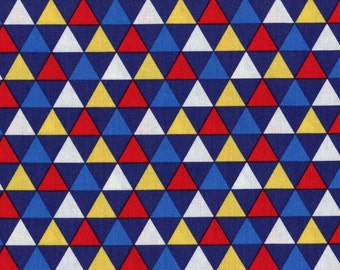 By The HALF YARD - Remix by Ann Kelle for Robert Kaufman, Patt. #13390 Triangles in Navy, Primary Colored Triangle on a Blue Background