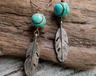 Carved Turquoise Colored Magnesite Stones and Feather Earrings || Zen | Earthy | Organic | Natural Stone Earrings | Earrings Under 20