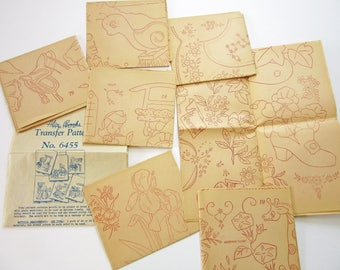 Vintage Sewing Pattern 1940s 1950s Motif Embroidery Transfer Never Used Collection of 7