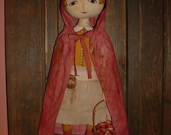 Primitive Little Red Riding Hood Doll E-PATTERN