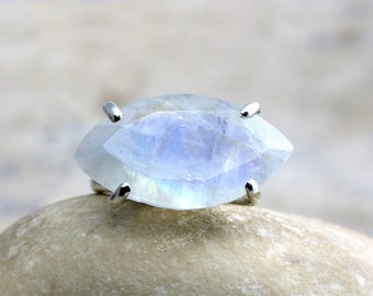 MOTHER'S DAY SALE - Marquise ring,moonstone ring,silver ring,wide ring,prong ring,cocktail ring,gemstone ring,large ring,wow ring