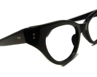 Vintage Black 50s 60s  Cat Eye Eyeglasses Frame NOS