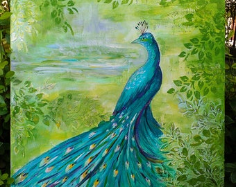 Peacock Painted by Hand in Acrylic - Hand Stretched Canvas