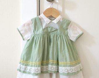 6-9 mo: Green Gingham Pinafore Style Dress, 1950's, Baby Girl