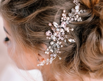 Pearls Bridal Hair vine-Pink Crystal Weddind Hair Comb-Hair Vine Bride-Wedding hair piece-Bridal headpiece-Wedding hair vine-Gold Hair Vine