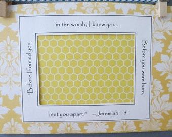 Jeremiah Bible Verse Gender Neutral Yellow White Pregnancy Reveal Gift for Grandparents Ultrasound Frame Sonogram Frame 5x7 Frame