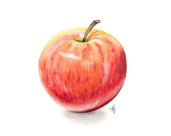 Apple Art Print, Red Apple, Royal Gala, Realistic Art, Wall Decor, Kitchen Art, Fruit Wall Art, Apple Wall Art