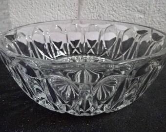 Stunning Reims France Pressed/Moulded Glass Bowl/Large/Serving/Trifle/Blancmange/Fruit/Fruit Punch/Retro/Vintage/1970s