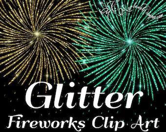 Fireworks Clip Art, Glitter Fireworks clip art, glitter clipart, clip overlays, digital clip art, Digital Scrapbook