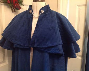Ladies Jane Austen caped cloak,  made to measure.  Regency cloak red velvour wool fabric, any size!