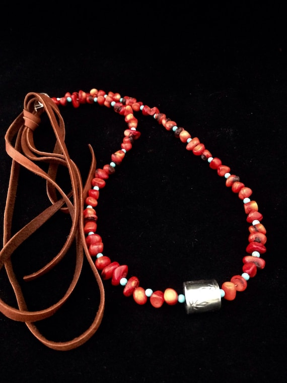 Handmade Jewelry, Southwestern, Boho, Red Coral, Sleeping Beauty Turquoise, Sterling Silver Barrel Pendant Necklace