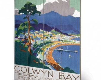 Colwyn Bay Wooden wall art  hanging /wooden Print  40 x 59cm (16 x 23.6 inches) SW11703P