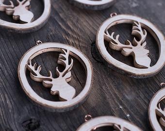 Set of 6, Christmas tree ornaments, rustic wood Christmas tree decorations, wood antlers, handmade rustic Christmas gift, house decor
