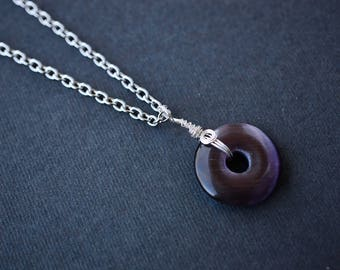 Purple Cats Eye Necklace, Donut Necklace, Wire Wrapped Necklace, Steel Necklace, Cats Eye Necklace