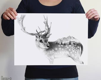 Deer drawing, Large A2 Art Print, Poster by flossy-p. Nordic animal, gift.