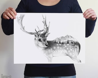 Deer drawing, Large A3 or A2 Art Print by flossy-p. Nordic animal, gift.