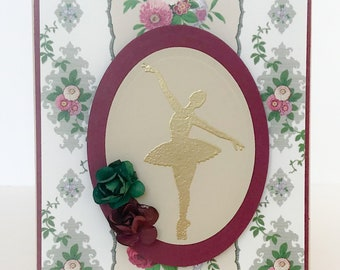 Handmade Card, Ballerina, Girls Card, Dance Gift, Ballet Card, Dancer Birthday, Dance Teacher, Dance Recital, Ballerina Card, Ballet, Dance