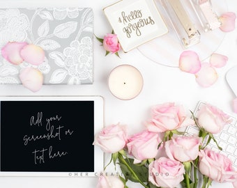Styled Stock Photography | iPad Mockup | Roses with Pink and White Desk Accessories  2 | Styled Photography | Digital Image