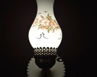 Milk Glass Wall Sconce Vintage Floral Lamp Light Fixture