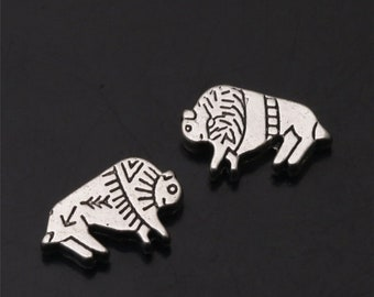 8 Native Design Buffalo Spacer Beads Varying Amounts of Contrast Wild West Bracelet Jewelry Findings Supplies 15x10mm Hole 1.5mm