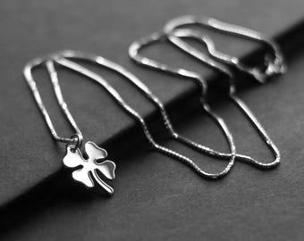 Small Four Leaf Clover Necklace, Festive St. Patricks Day Pendant, Irish, Ireland, Sterling Silver Lucky Shamrock Charm