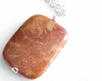 Fossilized Coral Necklace, Rust Fossil Jewelry, Rectangle Pendant, Agatized Coral, Graduation Gift