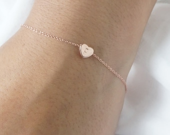 Rose Gold Bracelet CUSTOM Initial Heart Bracelet Dainty Personalized Heart Jewelry Gift for Her Sister Gift Love Bridesmaid Gift Jewelry
