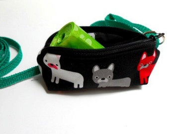 Dog Bag Holder Zipper Pouch with Key Ring ECO Friendly Padded  NEW Frenchie Pups