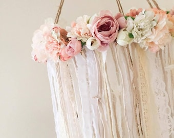 Rustic Flower Mobile || handmade | baby | girl | nursery | decor | floral | bohemian | decor | chandelier | girls | room | shower | gift