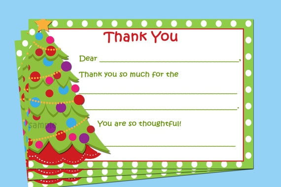 Christmas Thank You Note Printable Instant Download