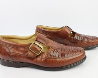 Vintage Derby Sandals SLEDGERS Made JOHN in FranceTout Leather Brown T 41 very good condition (3313)