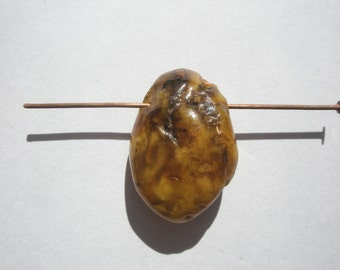 Natural Baltic Honey Amber Top Drilled Med/Lg Nugget Focal Bead - 25x17x10mm - 1