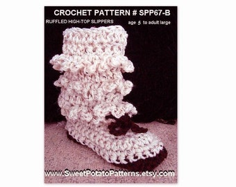 Instant Download PDF Crochet Pattern-Boot Style Slippers- Age 5 to Adult large  spp 67-B,  ok to sell your finished slippers