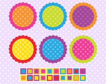 Bright Scalloped Journaling Spots Clipart - Instant Download - Commercial Use