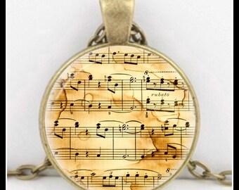 Antique Sheet Music - Sheet Music- Music Pendant - Music Necklace - KM-3